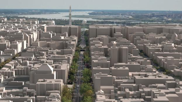 A rendering of what portions of D.C. would look like if buildings were allowed to grow to 200 feet in height.