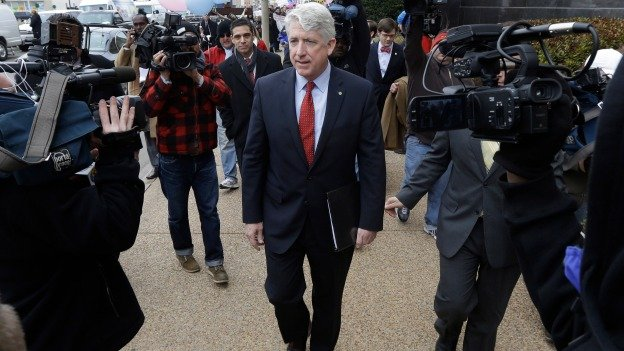 Virginia Attorney General Mark Herring leaves Federal Court after a hearing on Virginia's ban on gay marriage in Norfolk, Va., Tuesday, Feb. 4, 2014. Herring the state's newly elected Democratic attorney general has already decided to side with the plaintiffs and will not defend the ban.