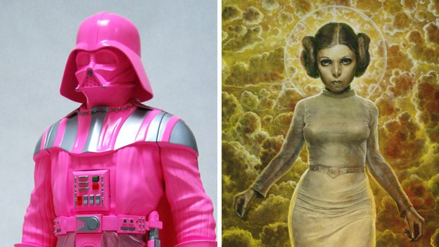 "Left: Part of ""Rosa Vader."" Right: Detail of ""The Ascension of Leia."""