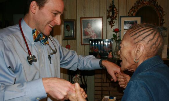 Dr. Eric De Jonge, a co-director of the Medstar Washington Hospital Center's Medical House Call Program visits Elouise Cain, 90, in her Northwest D.C. home.