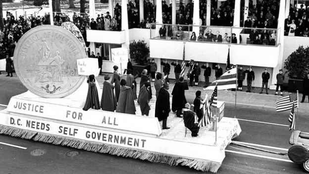 A pro-home rule float in the inaugural parade on January 20, 1965, when President Lyndon B. Johnson was inaugurated. (Reprinted with permission of the DC Public Library, Star Collection, Copyright Washington Post.)