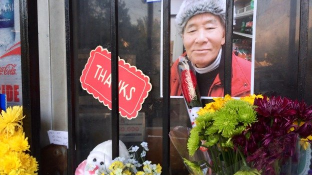 A shrine for James Oh has popped up outside the store in 16th Street Heights that he ran for 20 years.