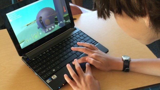 Curran Holden, 10, working on his video game at the Active Learning's Gamebuilder Video Game Creation Camp at the National Cathedral School.