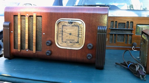 MAARC president Eric Stenberg specializes in wooden radios, some of which he's selling at MAARC's monthly flea market.