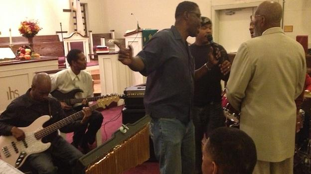 The Amazing Gospel Souls practice their harmonies at the Hughes Memorial United Methodist Church, in northeast, D.C.