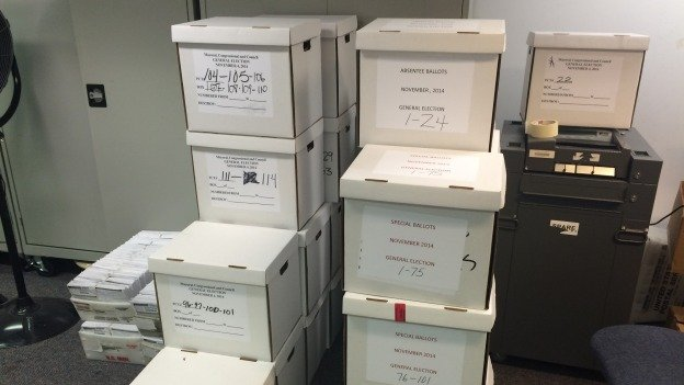 Boxes of special ballots waiting to be processed at the D.C. Board of Elections.