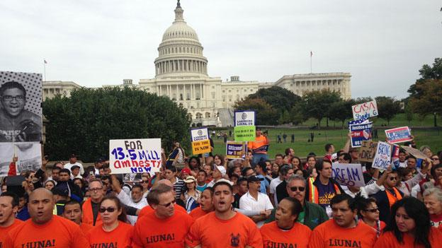 Immigration activists stage protest in front of U.S. Capitol.