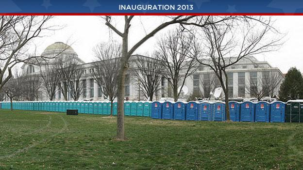 Porta-potties standing at attention before the presidential inauguration in 2009.