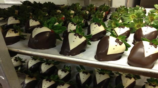 Strawberries dressed for Inauguration at Ridgewells Catering.