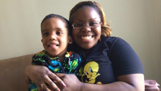 Monique Chandler, with her son Logan. They have been in rapid re-housing since October.