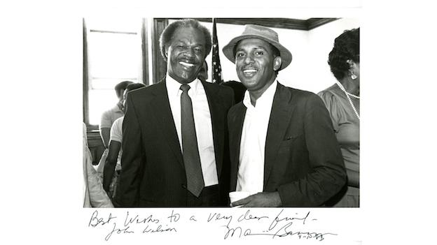 Former D.C. Council Chairman John Wilson poses with Marion Barry in 1983.