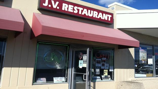 The entrance to JV Restaurant in Falls Church, VA.