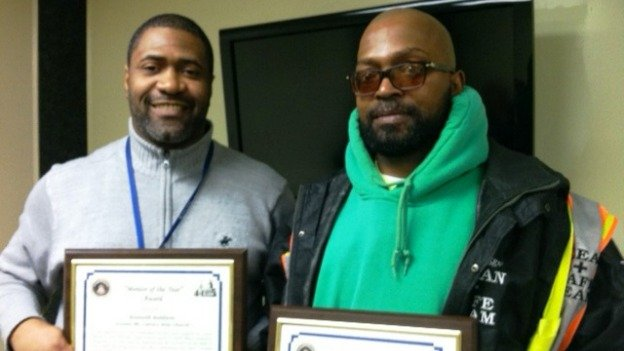 "Kenneth Baldwin (L) and Clarence Smith (R) won ""Mentor of the Year and Mentee of the Year"" for their committed partnership after Smith returned from prison."