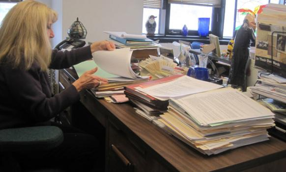 Bonnie Klem, supervisor of the investigation unit of Montgomery County Adult Protective Services, in her Rockville office.