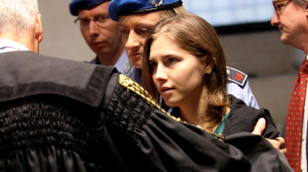 Amanda Knox arrives at Perugia's Court of Appeal, which announced its verdict in her appeal. In 2009, Knox and her Italian ex-boyfriend, Raffaele Sollecito, were convicted of killing her British roommate, Meredith Kercher.