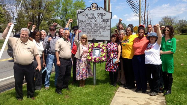 DC Laborfest kicks off with a May Day wreath-laying ceremony at the Mother Jones marker in Silver Spring.