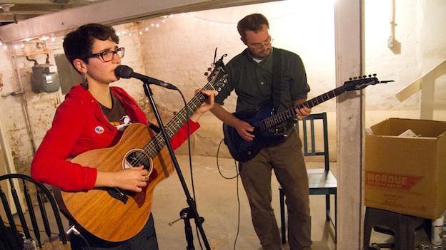 Elena Lacayo and Craig Keenan at a recent basement band practice.