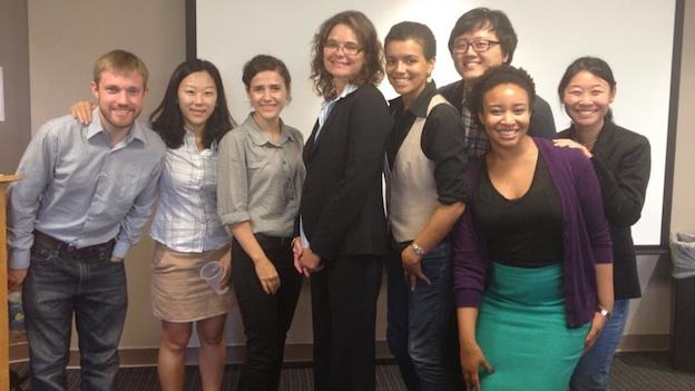 Contributors to The Language and Communication in the Washington, D.C., Metropolitcan Area (LCDC) Project have been collecting and analyzing interviews from hundreds of Washingtonians. (L to R: Patrick Callier, Sinae Lee, Anastasia Nylund, Natalie Schilling, Jessica Grieser, Jinsok Lee, Mackenzie Price, Amelia Tseng)
