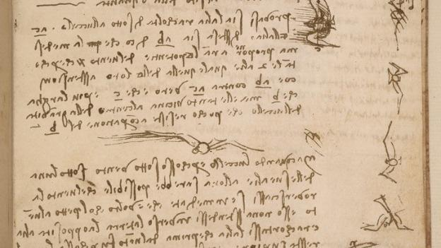 On this page from his Codex on the Flight of Birds, Leonardo da Vinci describes how a bird manipulates its wings to maintain balance and control.