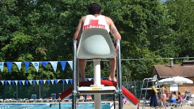 Devin Rudnick, 20, has been a lifeguard for 6 years at pools all around Montgomery County, Maryland.