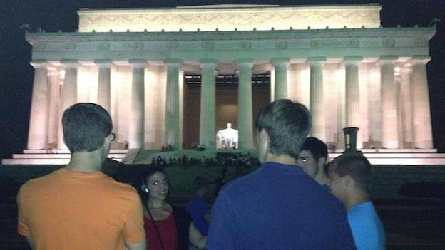 Rebecca Sheir interviews some nighttime visitors to the Lincoln Memorial, a popular moonlit destination in D.C.