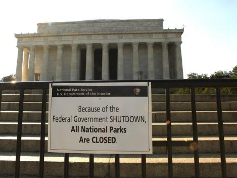 The Lincoln Memorial is officially closed. National parks and monuments are among the parts of the federal government affected by the shutdown.