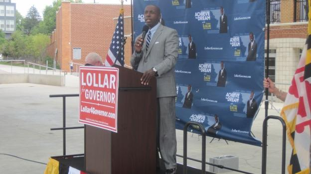 Lollar speaking to supporters in Silver Spring.