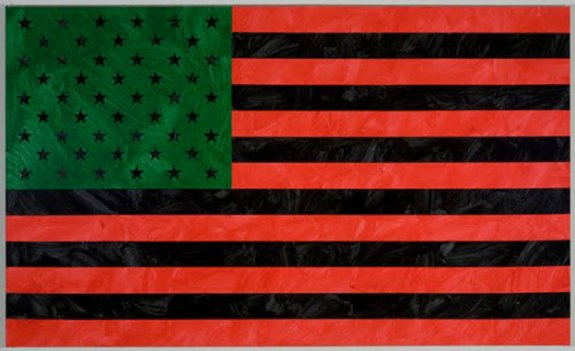 """This red, black and green version of the flag by artist Louis Cameron is just one of the 100-plus objects included in """"For Whom It Stands."""""""