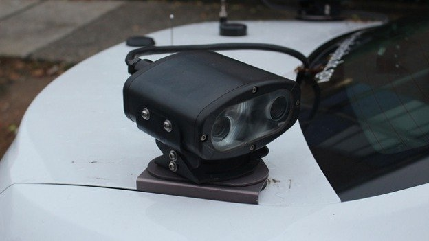 A license plate reader mounted on D.C. police patrol car. This model, made by a U.S-based subsidiary of an Italian industrial group, scans 1,800 plates per minute.