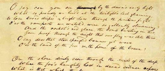 "Francis Scott Key's original manuscript of the ""Star-Spangled Banner"" lyrics is on display at the National Museum of American History."