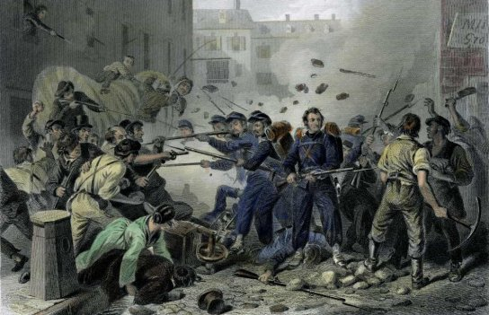 An engraving by F.F. Walker depicts the Massachusetts militia passing through Baltimore and being attacked by a mob in 1861. It inspired the poem that became Maryland's state song.