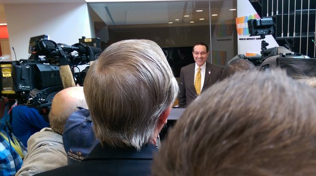 Former D.C. mayor Vincent Gray smiles at a question from a group of reporters after his appearance on The Kojo Nnamdi Show  on Thursday, Feb. 4, 2016.