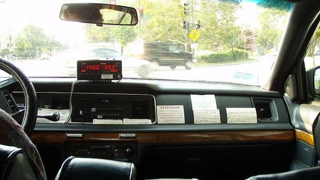 The inside of a taxicab in Washington, D.C.