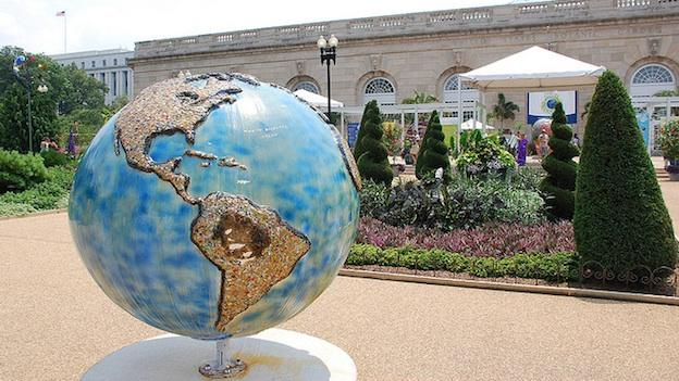 A globe in front of the U.S. Botanic Garden in Washington, D.C.