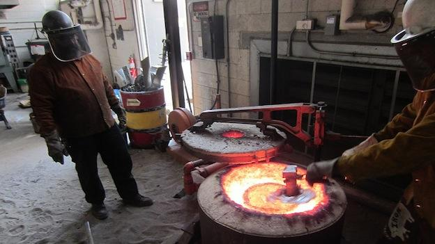 At the University of Maryland's metal class, the furnace can get up to 2,300 degrees Fahrenheit, depending on the type of metal students are working with.
