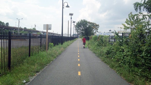 A lonely stretch of the Metropolitan Branch Trail in Northeast D.C.