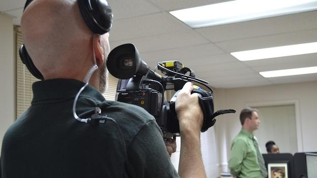 """Potomac, Md. based WILL Interactive shoots a scene from their video simulation """"Reinventing Michael Banks,"""" aiming to help Veterans better represent their skills and value in the workplace."""