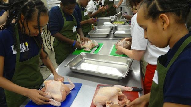 Students at Shaw Middle School learn to shop smart and cook healthily as part of a new initiative, MicroGreens, lead by Chef Alli Sosna.