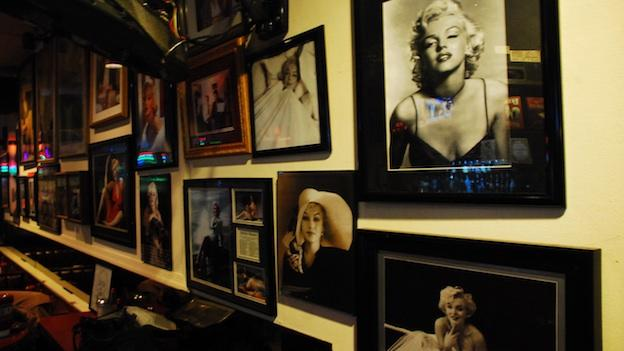 "The ""Marilyn Wall"" at Moe's Peyton Place in Springfield, Virginia. The portraits of Marilyn Monroe are donated by regulars."