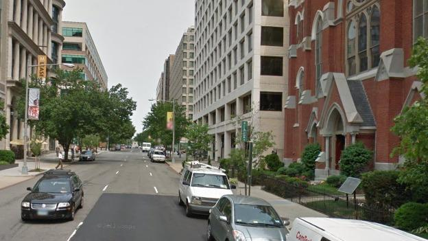 The protected bike lane would run west along M Street and in front of the Metropolitan A.M.E. Church, which appears to the right of this image.