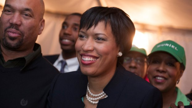 D.C. mayoral candidate and council member Muriel Bowser watches returns at her election night watch party in Washington, Tuesday, April 1, 2014. Bowser is the top challenger to Mayor Vincent Gray.