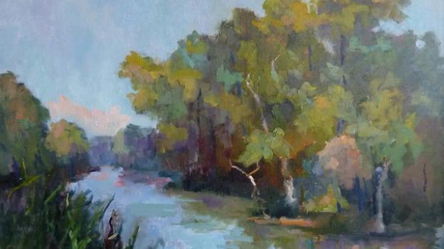 "The oil painting ""River Landscape"" by Nancy Lee Davis is one of many pieces featured in Something for Everyone."