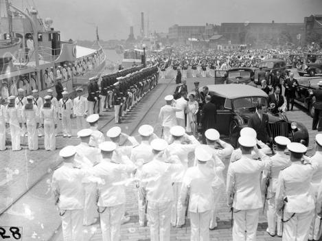 King George VI and Queen Elizabeth arrived at the Washington Navy Yard on June 9, 1939, to join President Franklin Roosevelt on a cruise down the Potomac River to Mount Vernon, Va.