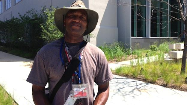 Alvin Judd Sr., a lifelong resident of the area now called NoMa, stands outside the brand new NPR headquarters on North Capitol Street NE.