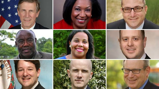 Top row: Don Beyer, Lavern Chatman, Adam Ebbin; middle row: Bill Euille, Charniele Herring, Patrick Hope; bottom row: Alfonzo Lopez, Bruce Shuttleworth, Mark Sickles.