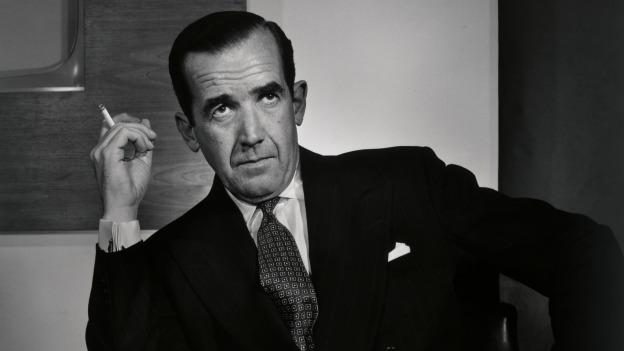 """Edward R. Murrow"" (1956), a gelatin silver print, was gifted to the Smithsonian Institution's National Portrait Gallery by Estrellita Karsh."