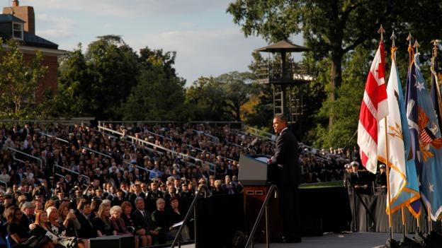 President Barack Obama speaks at a memorial service for the victims of the Washington Navy Yard shooting at Marine Barracks Washington Sunday, Sept. 22, 2013. A gunman killed 12 people in the Navy Yard on Monday, Sept. 16, 2013, before being fatally shot in a gun battle with law enforcement. The president and first lady Michelle Obama also visited with the victims' families.