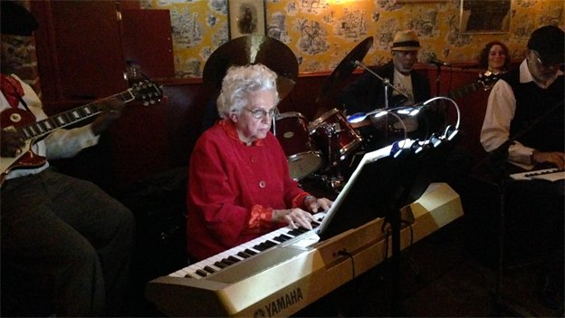 "Alice ""Granny"" Donahue, 82, and her band Granny's Ball of Odds is one of the main attractions at the Showtime bar."