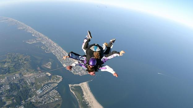 Skydivers over Ocean City, Md.