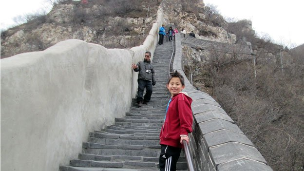 Olivia Rose on the Great Wall, at Juyongguan Pass outside Beijing.